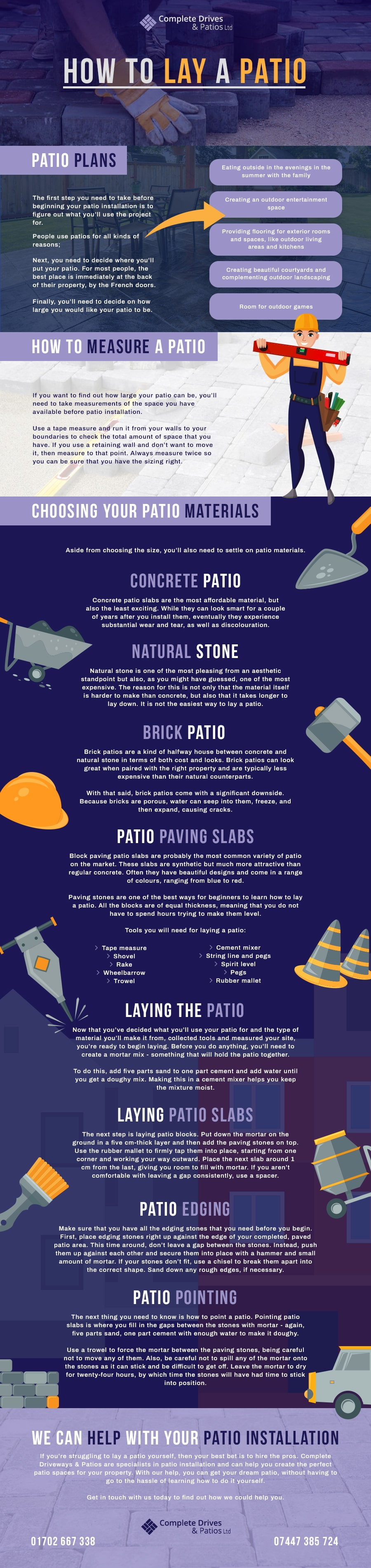 how to lay patio infographic
